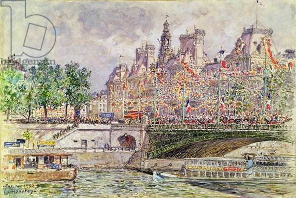 Place de l'Hotel de Ville, Paris, 14th July 1905 (gouache on paper)