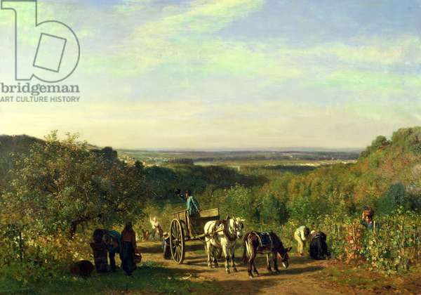 View from the Hilltops of Suresnes or, The Grape Harvest at Suresnes (oil on canvas)