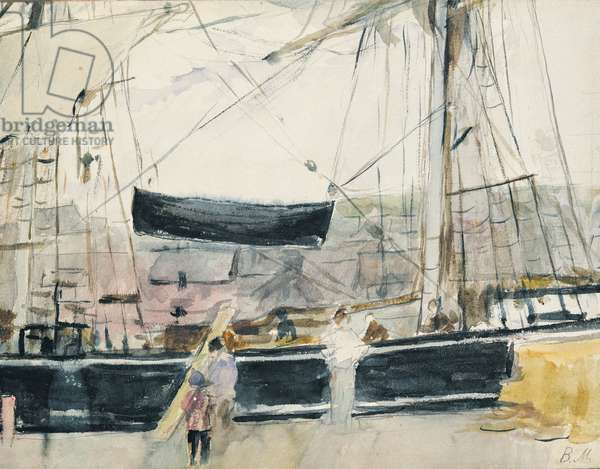 Boat on the Quay, 1875 (w/c on paper)