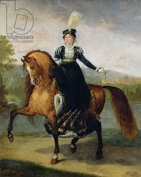 Equestrian portrait of Catherine de Wurtemberg (oil on canvas)