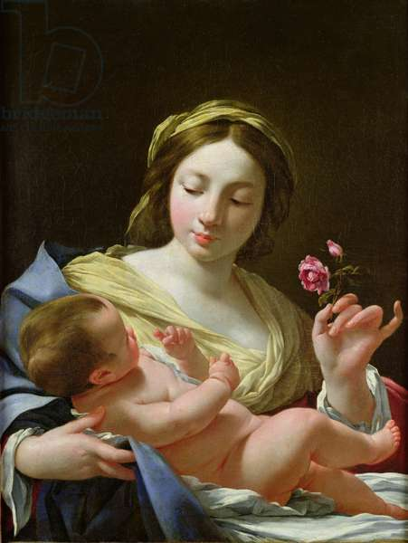 The Virgin and Child with a Rose (oil on canvas)