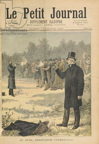 The Duel between Paul Deroulede (1846-1914) and Georges Clemenceau (1841-1929) illustration from 'Le Petit Journal', 7th January 1893 (coloured engraving)