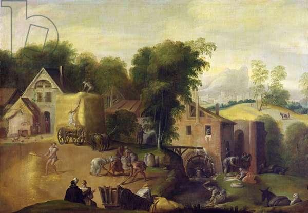 Winnowing the Grain (oil on canvas)