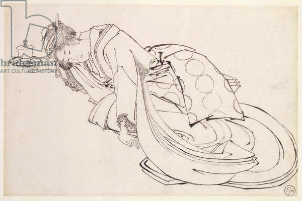 A Courtesan Offering a Cup, 18th-19th century (pen & ink on paper)