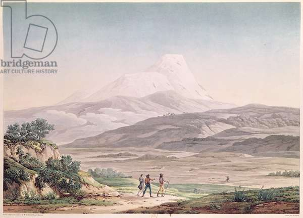 View of Cajambe, from 'Voyages aux Regions Equinoxiales du Nouveau Continent' by Alexander de Humboldt (1769-1859) engraved by Michel Bouquet (1807-90) published in 1814 (coloured engraving)