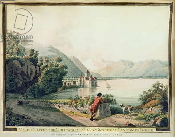 View of the Chateau de Chillon, Lake Geneva (coloured etching)