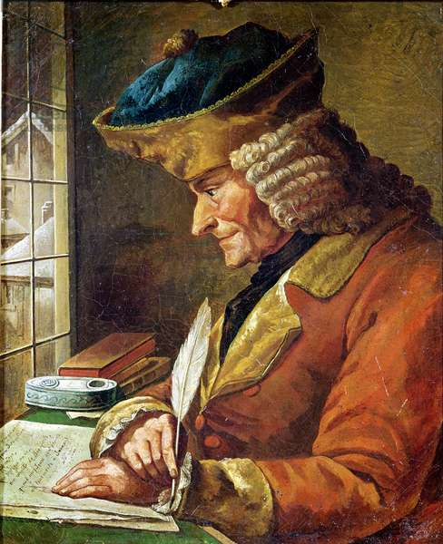 Voltaire (1694-1778) in his Study (oil on canvas)