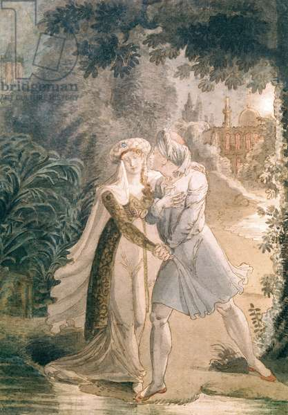 Blanca and Abon Hamet in the Gardens of the Alhambra, from 'Le Dernier des Abencerages' by Francois Rene (1768-1848) Vicomte de Chateaubriand (pen & ink and w/c on paper)