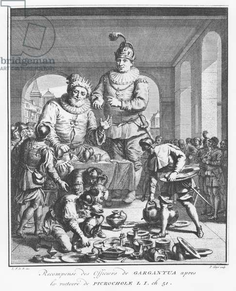 Gargantua rewarding officers after the victory of Picrochole, illustration from 'The Life of Gargantua and Pantagruel', by François Rabelais (engraving)