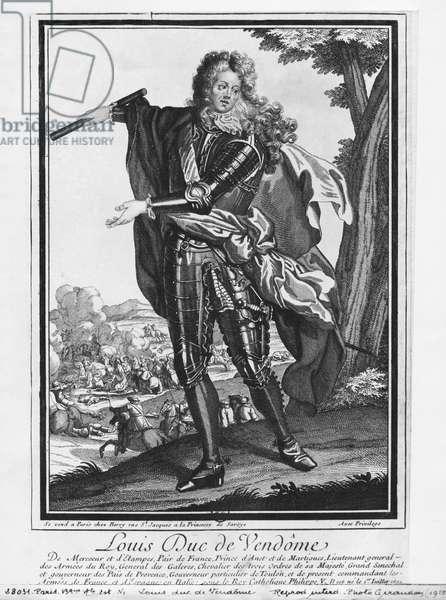 Louis Joseph de Bourbon, Duke of Vendome, known as 'The Great Vendome' (engraving) (b/w photo)
