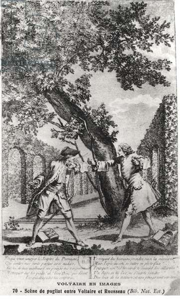 Argument between Jean-Jacques Rousseau (1712-78) and Voltaire (1694-1778) (engraving) (b/w photo)
