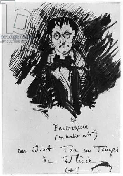 Palestrina in a Black Suit (pen & ink on paper) (b/w photo)