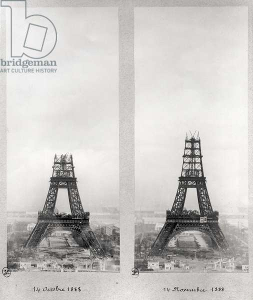 Two views of the construction of the Eiffel Tower, Paris, 14th October and 14th November 1888 (b/w photo)