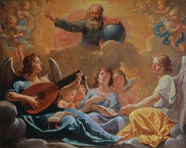 A Concert of Angels (oil on canvas)