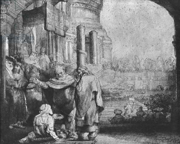 St. Peter and St. John at the Entrance to the Temple, 1649 (etching) (b/w photo)