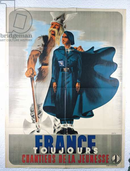 'France Forever. Working for Youth', poster from the Secretariat General de l'Information, 1940 (colour litho)