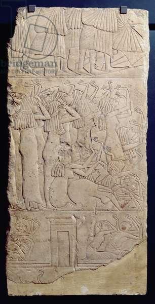 Scene of lamentation during a burial, from Sakkara, New Kingdom, c.1330 BC (limestone)