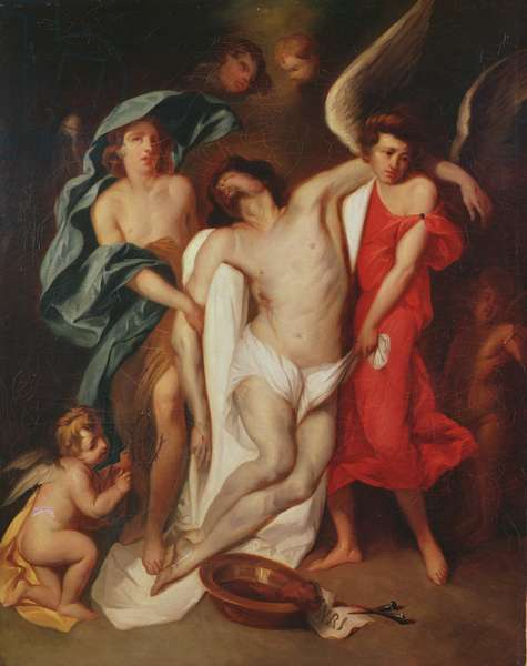 The Body of Christ carried by Angels (oil on canvas)
