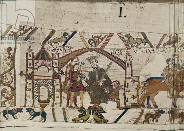King Edward the Confessor sends Harold to Normandy, Bayeux Tapestry (wool embroidery on linen)