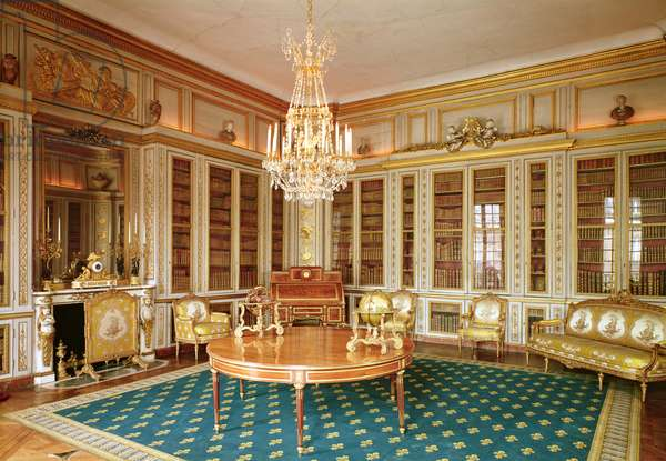 The library of Louis XVI (1754-93) decorated in 1781 by Rousseau under the direction of Gabriel (photo)