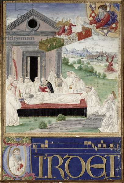 The Funeral of St. Benedict (480-527) with St. Romauld (c.951-1027) 1502 (vellum)