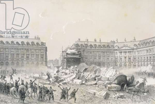 The Fall of the Vendome Column during the Commune (litho)