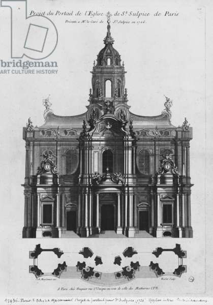 Project for the church of Saint-Sulpice, elevation of the facade, Paris, engraved by Riolet, 1726 (engraving) (b/w photo)