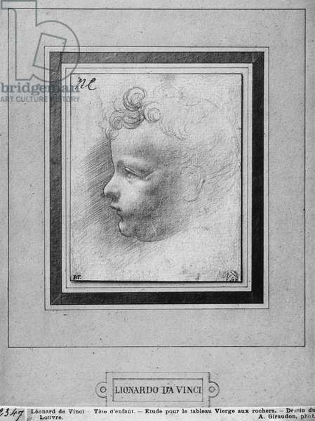 Head of a child (pencil on paper) (b/w photo)