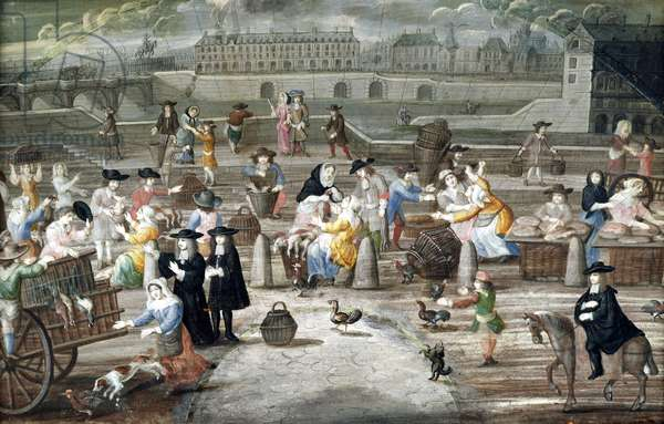 Bread and Poultry Market on Quai des Grands Augustins, painted for a fan (pen & ink and w/c on paper)
