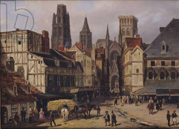 Place de la Haute-Vieille-Tour, Rouen, 1824 (oil on cardboard)