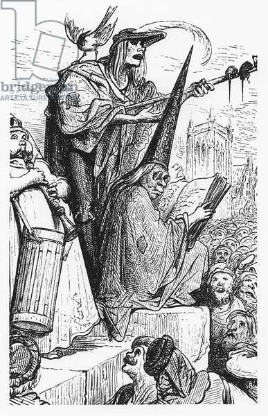 The beggar musicians, iillustration from 'Gargantua and Pantagruel', by François Rabelais (engraving)