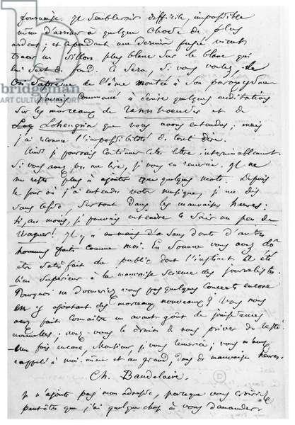 Letter to Richard Wagner (1813-83) 17th February 1860 (pen and ink on paper) (b/w photo)