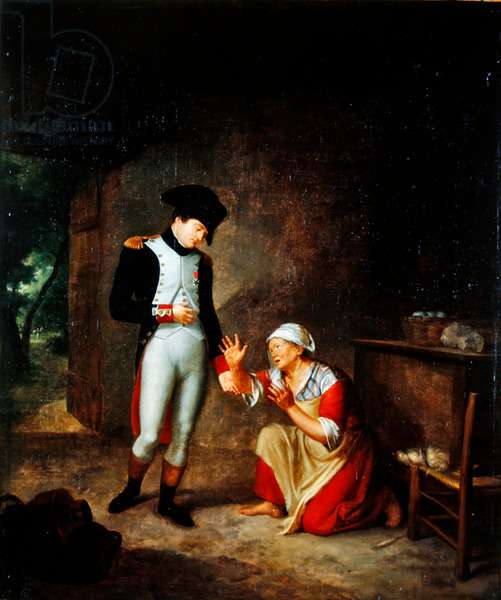 Napoleon visits a peasant in the outskirts of Brienne, 4th August, 1805 (oil on canvas)