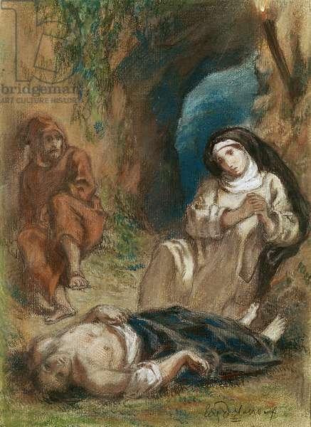Lelia in the Cave, from 'Lelia' by George Sand (1804-76) c.1852 (pastel on paper)