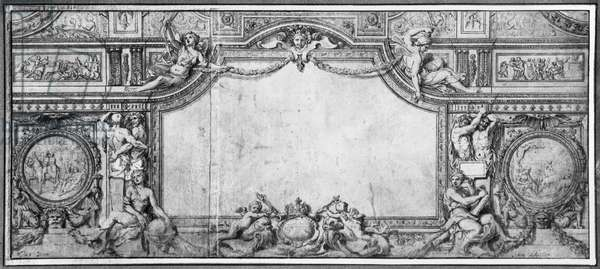 Project of decorated ceiling, c.1663 (pen & black ink & grey wash on brown paper)