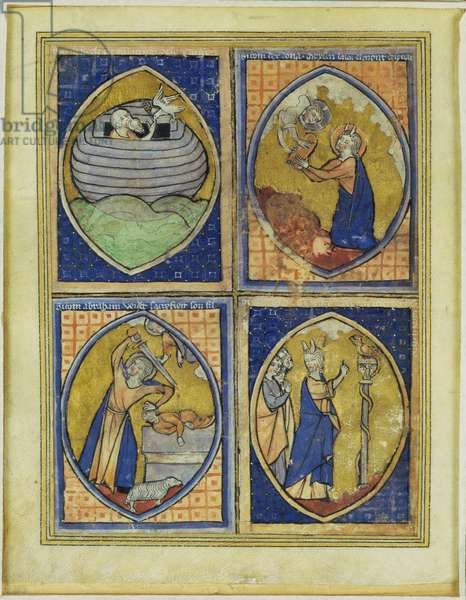 Noah receiving the White Dove, Moses receiving the Tables of the Law, the sacrifice of Abraham, Moses and the Brazen Serpent, late 13th century (vellum)