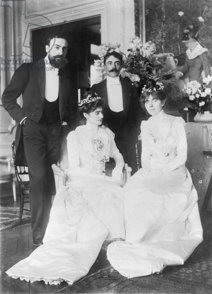 L-R: Ernest Rouart (1874-1942) and his wife Julie Manet (1878-1967), Paul Valery (1871-1945) and his wife Jeannie Gobillard (1877-1970), on the day of their marriage, May 1900 (b/w photo)