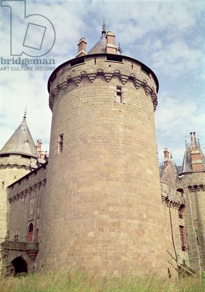 View of a tower of the chateau, 14th-15th century (photo)