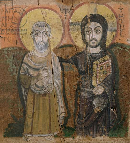 Icon depicting Abbott Mena with Christ, from Baouit, 6th-7th century (tempera on panel)