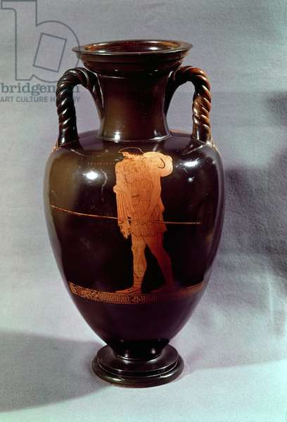 Attic red-figure amphora depicting Euphorbos and the infant Oedipus, from Vulci, c.450 BC (ceramic)
