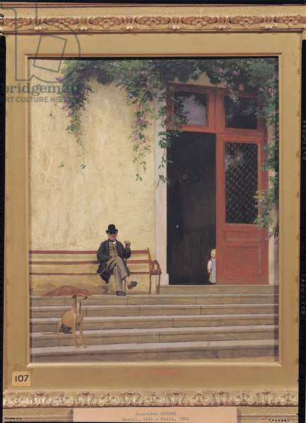 The Artist's Father and Son on the Doorstep of his House, c.1866-67 (oil on panel)