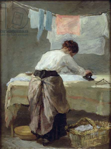 Woman Ironing (oil on canvas)