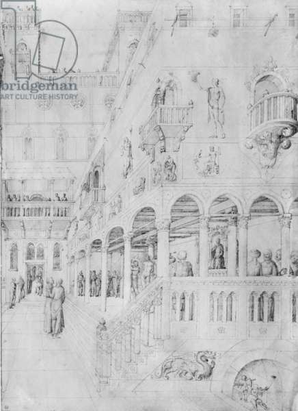 The Flagellation, from the Jacopo Bellini's Album of drawings (pen & ink on vellum) (b/w photo)