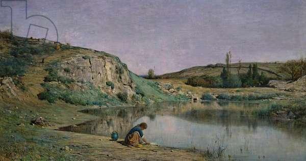 Shore of Lake Bourget (Bord du Lac du Bourget) (oil on canvas)