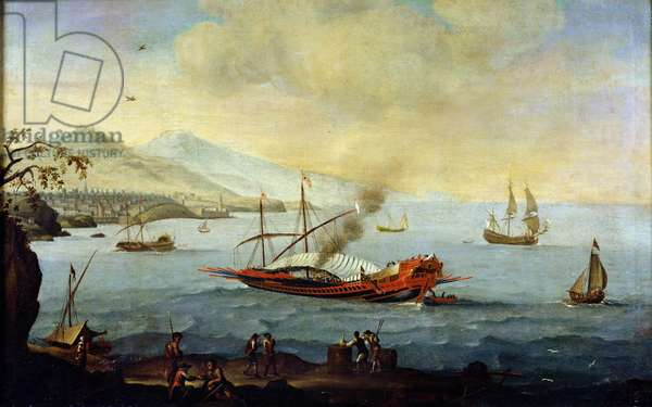 Galleon Laid up in Port (oil on canvas)