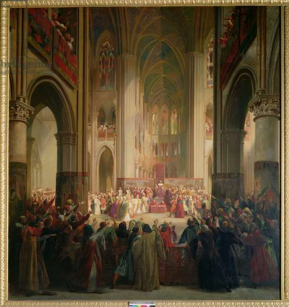 Estates General of Paris Meeting in Notre-Dame after the Death of Charles IV (1295-1328), 1st February 1328, 1841 (oil on canvas)