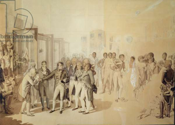 Napoleon I (1769-1821) Visiting the Sevene Brothers' Factory in Rouen, November 1802, 1804 (litho)