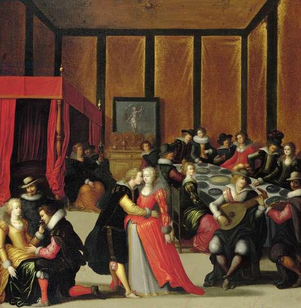 Scene Galante or The Five Senses (oil on canvas)