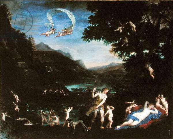 Adonis Led to Venus by Cherubs (oil on canvas)
