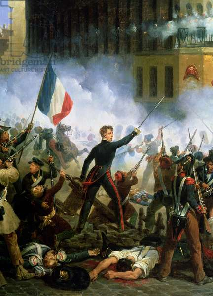 Battle in the Rue de Rohan, 28th July 1830, 1831 (oil on canvas) (detail of 156577)